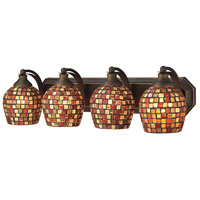 ELK 570-4B-MLT Mix and Match 4 Light 27 inch Aged Bronze Vanity Light Wall Light in Multi Mosaic Glass, Incandescent