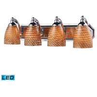 ELK 570-4C-C-LED Vanity LED 27 inch Polished Chrome Bath Bar Wall Light in Cocoa Glass, 4 photo thumbnail