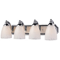 ELK 570-4C-SW Vanity 4 Light 27 inch Polished Chrome Bath Bar Wall Light in Standard, Snow White Glass photo thumbnail