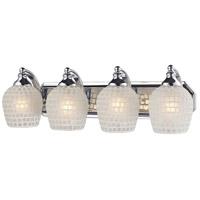ELK 570-4C-WHT Mix and Match 4 Light 27 inch Polished Chrome Vanity Light Wall Light in White Mosaic Glass, Incandescent