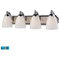 Vanity LED 27 inch Polished Chrome Bath Bar Wall Light in White Swirl Glass, 4