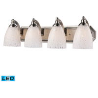 Vanity LED 27 inch Satin Nickel Bath Bar Wall Light in Snow White Glass, 4