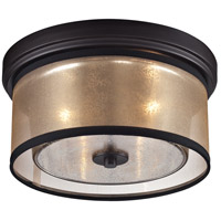 elk diffusion 2 light 13 inch oil rubbed bronze flush mount ceiling light