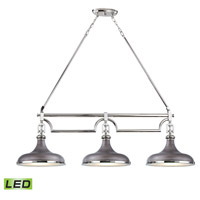 ELK 57083/3-LED Rutherford LED 52 inch Polished Nickel with Weathered Zinc Island Light Ceiling Light