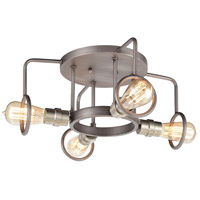 ELK 57104/4 Billings 4 Light 16 inch Weathered Zinc with Satin Nickel Semi Flush Mount Ceiling Light