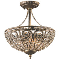 ELK 5964/3 Elizabethan 3 Light 13 inch Dark Bronze Semi-Flush Mount Ceiling Light