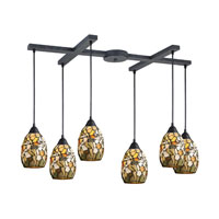 ELK Lighting Trego 6 Light Pendant in Dark Rust 60018-6