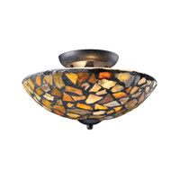 ELK Lighting Trego 2 Light Semi-Flush Mount in Dark Rust 60037-2