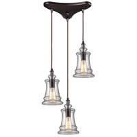 ELK 60042-3 Menlow Park 3 Light 10 inch Oiled Bronze Mini Pendant Ceiling Light in Triangular Canopy, Triangular