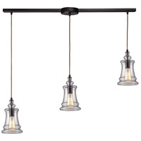 ELK 60042-3L Menlow Park 3 Light 5 inch Oiled Bronze Mini Pendant Ceiling Light in Linear with Recessed Adapter, Linear