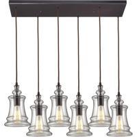 ELK 60042-6RC Menlow Park 6 Light 32 inch Oiled Bronze Mini Pendant Ceiling Light in Rectangular Canopy Rectangular