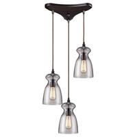ELK 60043-3 Menlow Park 3 Light 10 inch Oiled Bronze Mini Pendant Ceiling Light in Triangular Canopy, Triangular