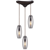 ELK 60044-3 Menlow Park 3 Light 10 inch Oiled Bronze Pendant Ceiling Light in Triangular Canopy