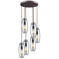 ELK 60044-6R Menlow Park 6 Light 15 inch Oil Rubbed Bronze Pendant Ceiling Light in Light Bar