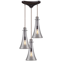 ELK 60045-3 Menlow Park 3 Light 10 inch Oiled Bronze Mini Pendant Ceiling Light in Triangular Canopy, Triangular