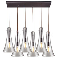 ELK 60045-6RC Menlow Park 6 Light 25 inch Brass Pendant Ceiling Light in Rectangular Canopy
