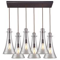 ELK 60045-6RC Menlow Park 6 Light 25 inch Brass Mini Pendant Ceiling Light in Rectangular Canopy Rectangular