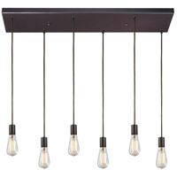 ELK 60046-6RC Menlow Park 6 Light 9 inch Oiled Bronze Pendant Ceiling Light in Rectangular Canopy