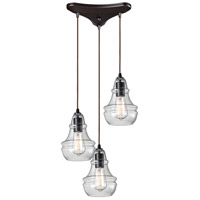 ELK 60047-3 Menlow Park 3 Light 10 inch Oiled Bronze Mini Pendant Ceiling Light in Triangular Canopy, Triangular