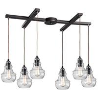 ELK 60047-6 Menlow Park 6 Light 17 inch Oiled Bronze Pendant Ceiling Light in Light Bar