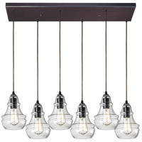 ELK 60047-6RC Menlow Park 6 Light 9 inch Oiled Bronze Pendant Ceiling Light in Rectangular Canopy