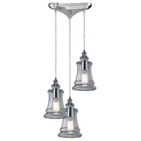 ELK 60052-3 Menlow Park 3 Light 10 inch Polished Chrome Mini Pendant Ceiling Light in Triangular Canopy, Triangular