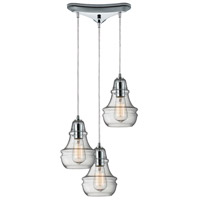 ELK 60057-3 Menlow Park 3 Light 10 inch Polished Chrome Mini Pendant Ceiling Light in Triangular Canopy Triangular