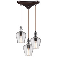 ELK 60066-3 Menlow Park 3 Light 10 inch Oil Rubbed Bronze Mini Pendant Ceiling Light in Triangular Canopy, Triangular