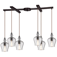 ELK 60066-6 Menlow Park 6 Light 33 inch Oil Rubbed Bronze Pendant Ceiling Light in Light Bar