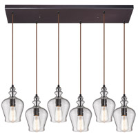ELK 60066-6RC Menlow Park 6 Light 30 inch Oil Rubbed Bronze Pendant Ceiling Light in Rectangular Canopy
