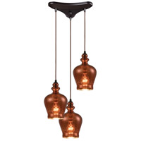 ELK 60086-3 Menlow Park 3 Light 12 inch Oil Rubbed Bronze Pendant Ceiling Light in Triangular Canopy