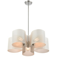 ELK 60154/5 Santa Barbara 24 inch Matte White/Polished Chrome Chandelier Ceiling Light