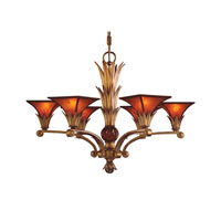 VALENCIANA 6 Light 32 inch Solid Brass Gold Leaf Chandelier Ceiling Light