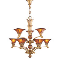 ELK Lighting Valenciana 9 Light Chandelier in Solid Brass Gold Leaf 6166/6+3 photo thumbnail