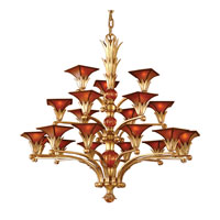 ELK Lighting Valenciana 21 Light Chandelier in Solid Brass Gold Leaf 6168/12+6+3