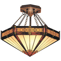 Filigree 3 Light 14 inch Aged Bronze Semi-Flush Mount Ceiling Light