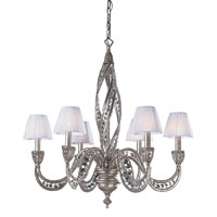 Renaissance 6 Light 28 inch Sunset Silver Chandelier Ceiling Light