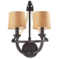 ELK 63010-2 Natural Rope 2 Light 12 inch Aged Bronze Wall Sconce Wall Light
