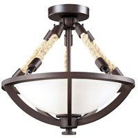 ELK 63011-2 Natural Rope 2 Light 15 inch Aged Bronze Semi-Flush Mount Ceiling Light