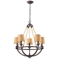 ELK 63015-5 Natural Rope 5 Light 22 inch Aged Bronze Chandelier Ceiling Light