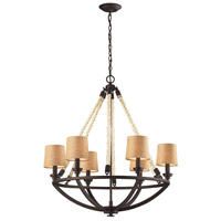 ELK 63016-6 Natural Rope 6 Light 30 inch Aged Bronze Chandelier Ceiling Light