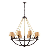 Natural Rope 8 Light 42 inch Aged Bronze Chandelier Ceiling Light