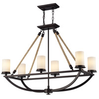 ELK 63018-6 Natural Rope 6 Light 35 inch Aged Bronze Island Light Ceiling Light