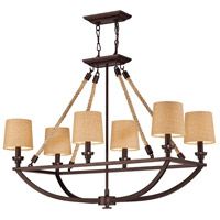 ELK 63019-6 Natural Rope 6 Light 36 inch Aged Bronze Island Light Ceiling Light