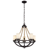 ELK 63041-5 Natural Rope 5 Light 25 inch Aged Bronze Chandelier Ceiling Light