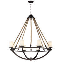 Natural Rope 8 Light 41 inch Aged Bronze Chandelier Ceiling Light