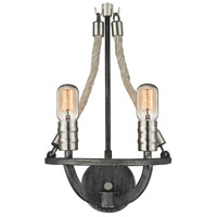 ELK Lighting Natural Rope 2 Light Sconce in Silvered Graphite with Polished Nickel Accents 63051-2