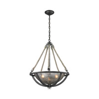 ELK Lighting Natural Rope 3 Light Pendant in Silvered Graphite with Polished Nickel Accents 63054-3