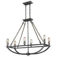 ELK 63055-6 Natural Rope 6 Light 13 inch Polished Nickel with Silvered Graphite Chandelier Ceiling Light