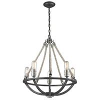 ELK 63056-5 Natural Rope 5 Light 20 inch Polished Nickel with Silvered Graphite Chandelier Ceiling Light
